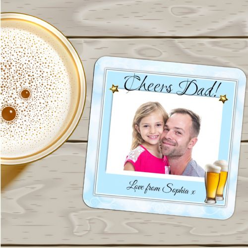 Personalised Photo Coaster N7 - Birthday, Christmas, Fathers Day Gift - CHEERS DAD Beer Design